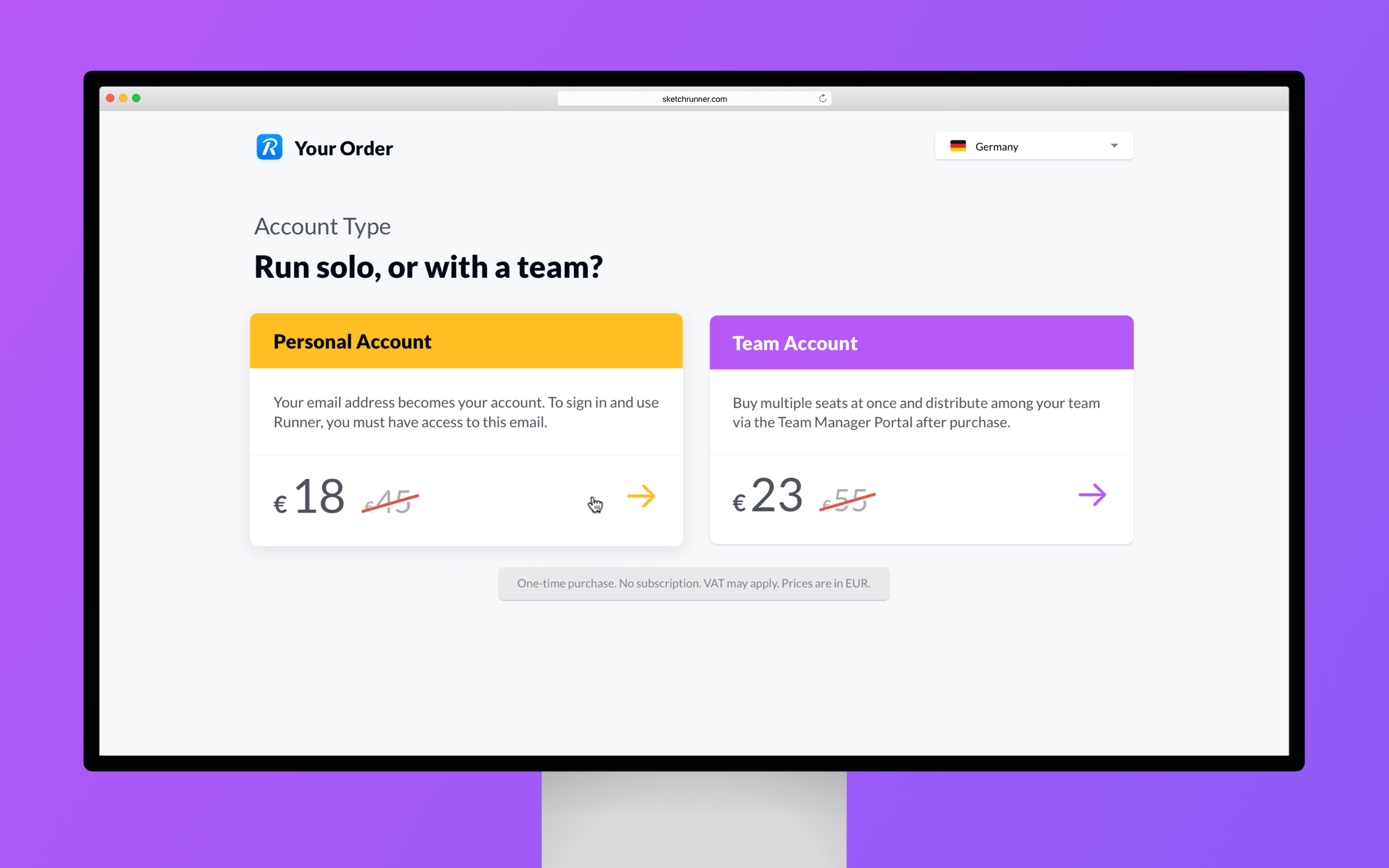 Sketch Runner website pricing page